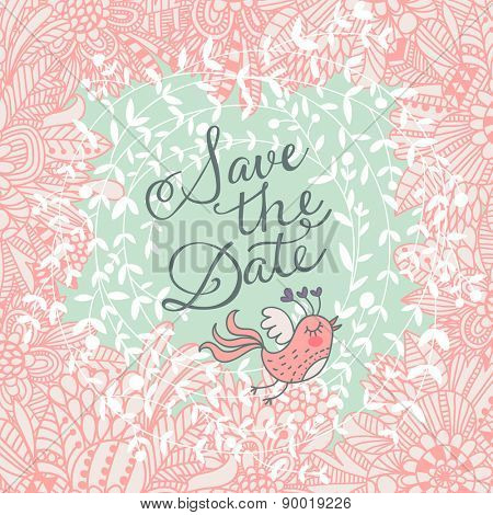 Stunning Save the Date card in popular pastel colors. Beautiful greeting card with lovely flowers and sweet bird. Vector party invitation with cute floral elements.