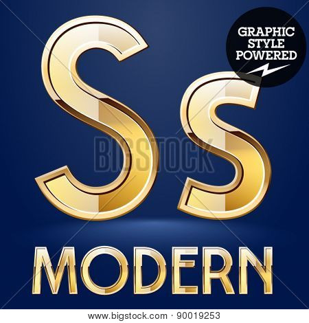 Vector set of modern golden glossy font. Letter S