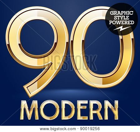 Vector set of modern golden glossy font. Numbers 9 0