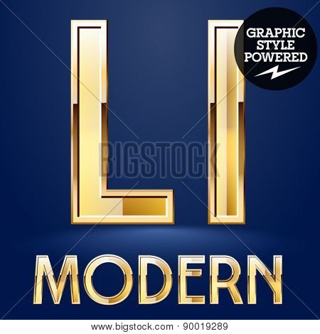 Vector set of modern golden glossy font. Letter L
