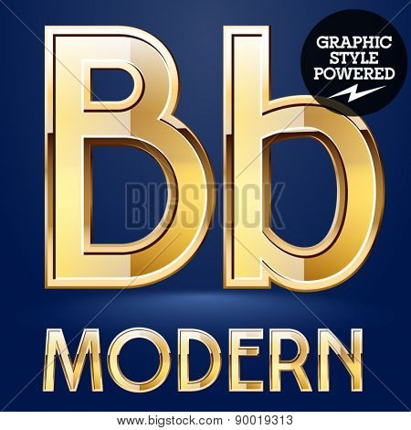 Vector set of modern golden glossy font. Letter B