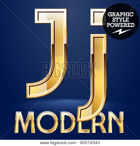 Vector set of modern golden glossy font. Letter J