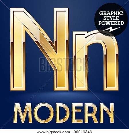 Vector set of modern golden glossy font. Letter N