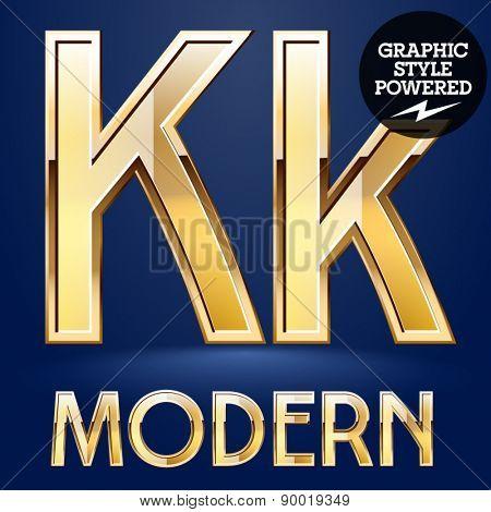 Vector set of modern golden glossy font. Letter K