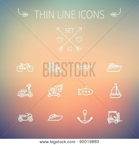 Transportation thin line icon set for web and mobile. Set includes- golf cart, trucks, motor, boat, submarine, anchor icons. Modern minimalistic flat design. Vector white icon on gradient mesh