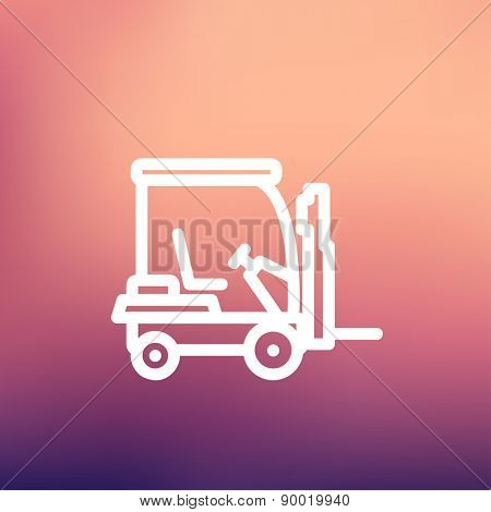 Golf cart icon thin line for web and mobile, modern minimalistic flat design. Vector white icon on gradient mesh background.