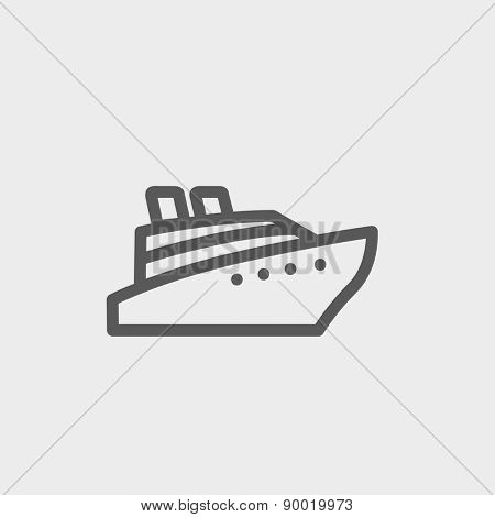 Cruise ship icon thin line for web and mobile, modern minimalistic flat design. Vector dark grey icon on light grey background.