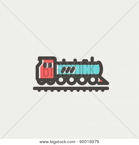 Railroad train icon thin line for web and mobile, modern minimalistic flat design. Vector icon with dark grey outline and offset colour on light grey background.