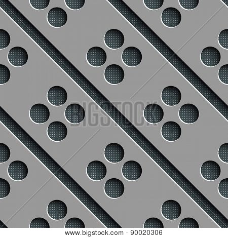 Seamless Circle and Diagonal Stripe Pattern. Vector Gray Regular Texture