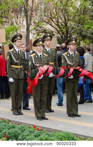 Cadets Young Guard Prepared To Lay A Wreath At The Monument