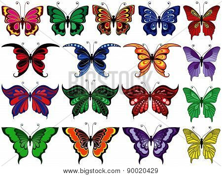 Set Of Seventeen Colorful Butterflies