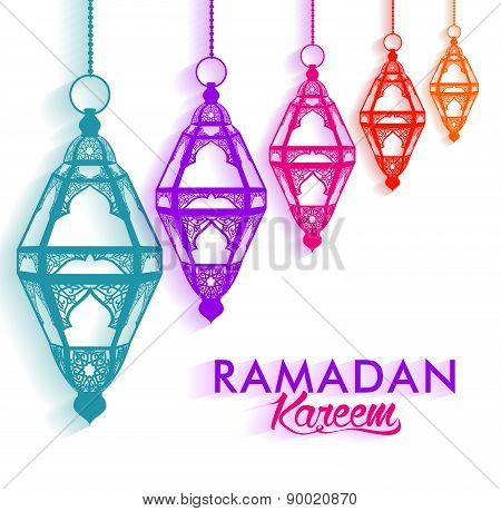 Colorful Elegant Ramadan Kareem Lanterns or Fanous