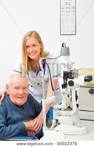 Senior Man With Glaucoma At The Ophthalmology