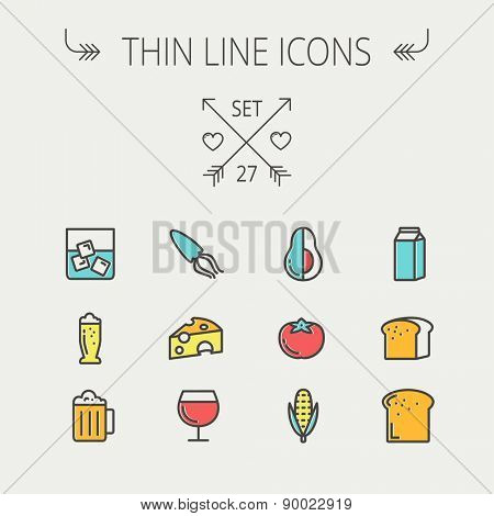 Food and drink thin line icon set for web and mobile. Set includes - fresh milk, bread, cheese, squid icons. Modern minimalistic flat design. Vector icon with dark grey outline and offset colour on