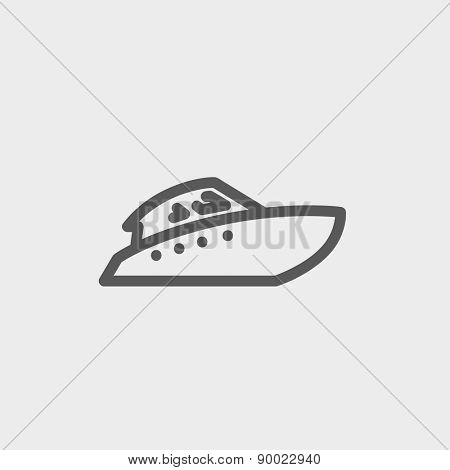 Speedboat icon thin line for web and mobile, modern minimalistic flat design. Vector dark grey icon on light grey background.