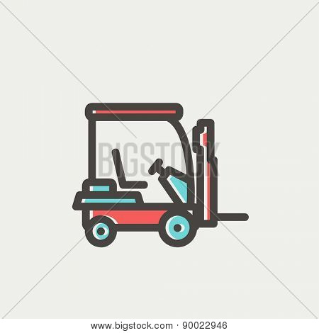 Golf cart icon thin line for web and mobile, modern minimalistic flat design. Vector icon with dark grey outline and offset colour on light grey background.