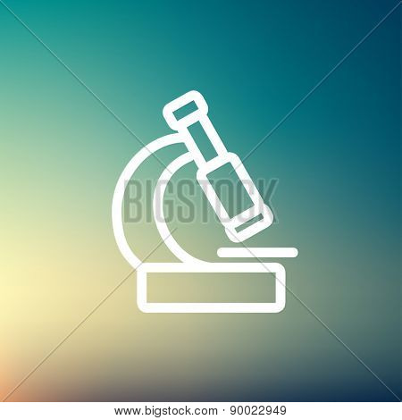 Microscope icon thin line for web and mobile, modern minimalistic flat design. Vector white icon on gradient mesh background.