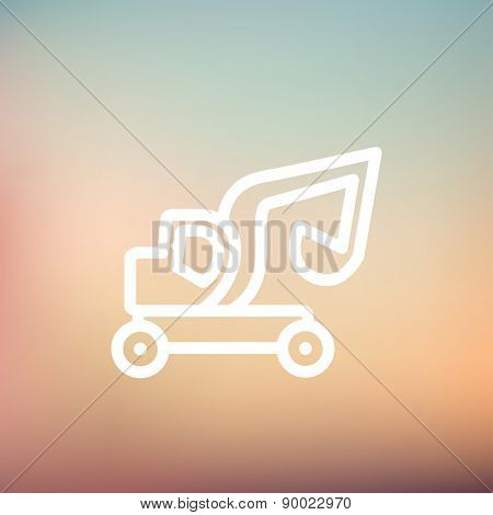 Excavator truck icon thin line for web and mobile, modern minimalistic flat design. Vector white icon on gradient mesh background.