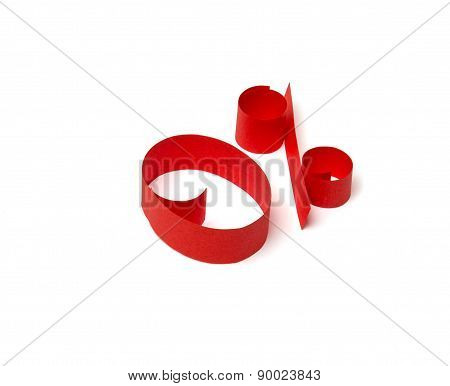 0 % Discount Sign Of Red Paper