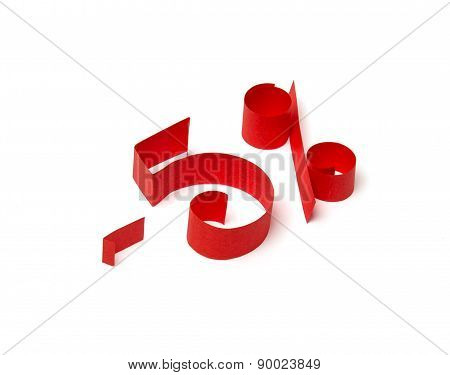 5 % Discount Sign Of Red Paper