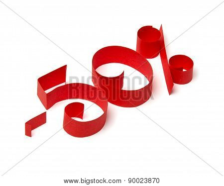50 % Discount Sign Of Red Paper