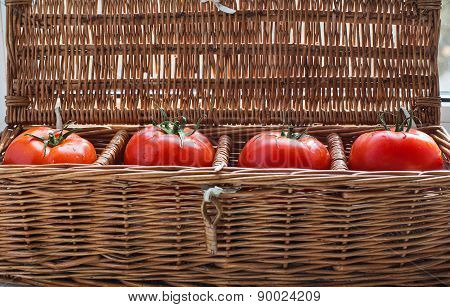 Four Tomatoes With Dew Lying In Wicker Box