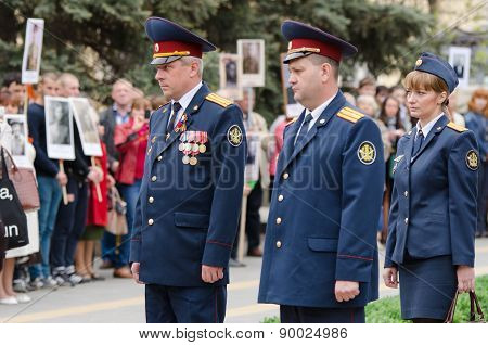 Senior Officials Penal Colony At The Monument Of Fallen Soldiers