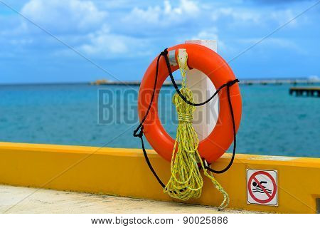 Lifebuoy Hanging On A Ship