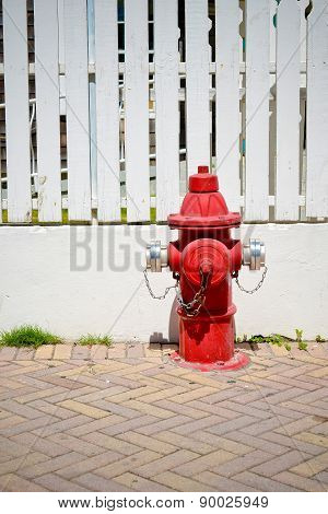 An Isolated Red Hydrant On A City Street