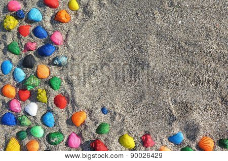 Abstract Background With Seashells In The Sand