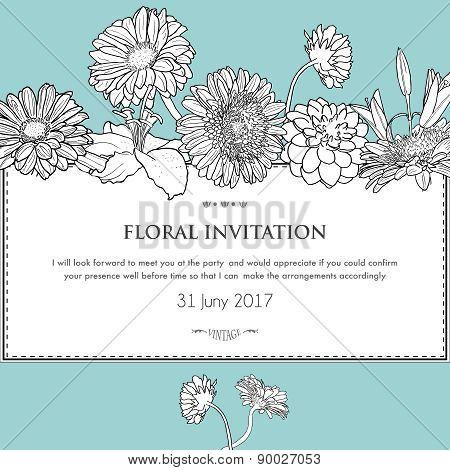 Floral Horizontal Invitation Card.