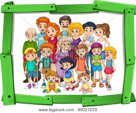 Family members in wooden photo frame