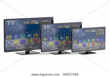 Three Smart Tv With Different Diagonal