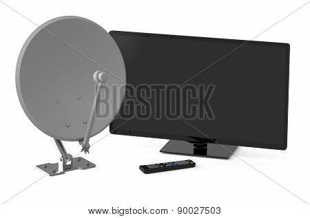 Tv Set And Satellite Dish