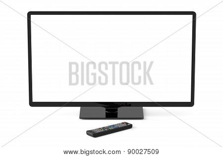 Tv Set With White Screen And Remote Control