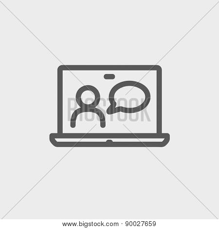 Video chat online icon thin line for web and mobile, modern minimalistic flat design. Vector dark grey icon on light grey background.