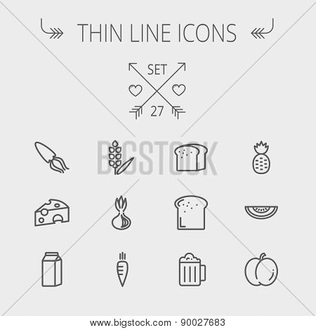 Food and drink thin line icon set for web and mobile. Set includes- fresh milk, bread, cheese, squid icons. Modern minimalistic flat design. Vector dark grey icon on light grey background.