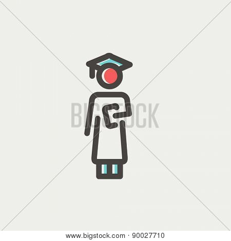 Graduation icon thin line for web and mobile, modern minimalistic flat design. Vector icon with dark grey outline and offset colour on light grey background.