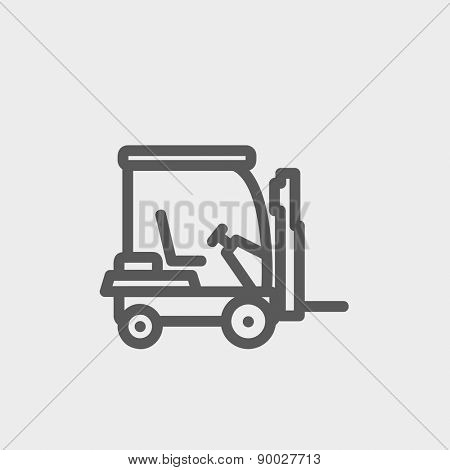 Golf cart icon thin line for web and mobile, modern minimalistic flat design. Vector dark grey icon on light grey background.