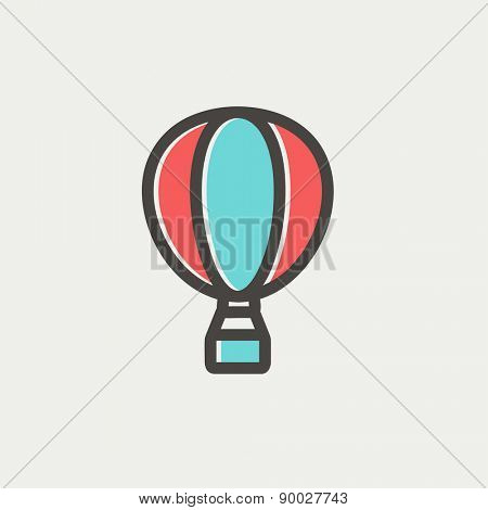 Hot air balloon icon thin line for web and mobile, modern minimalistic flat design. Vector icon with dark grey outline and offset colour on light grey background.
