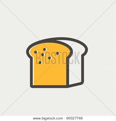 Small size loaf of bread icon thin line for web and mobile, modern minimalistic flat design. Vector icon with dark grey outline and offset colour on light grey background.