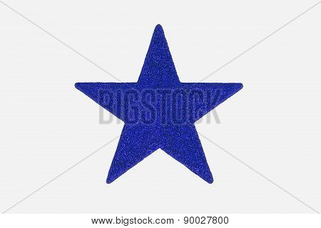 Christmas Blue Star Decoration, Isolated On White Background.