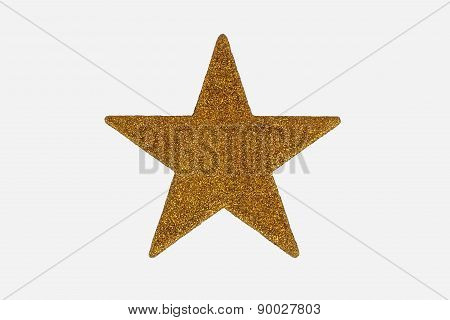 Gold Christmas Star Decoration, Isolated On White Background.