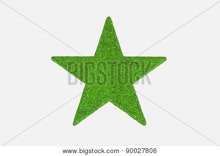 Bright Green Christmas Star Decoration, Isolated On White Background.