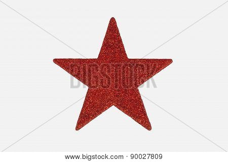 Red Christmas Star Decoration, Isolated On White Background.