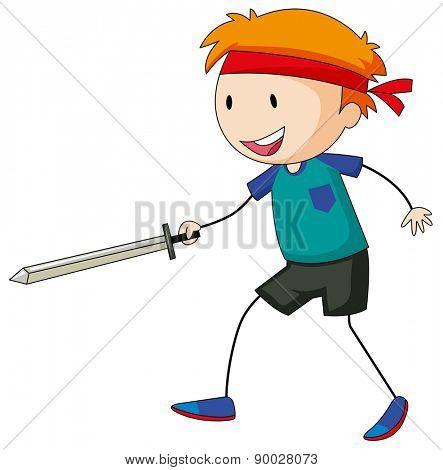 Happy boy playing sword fight alone