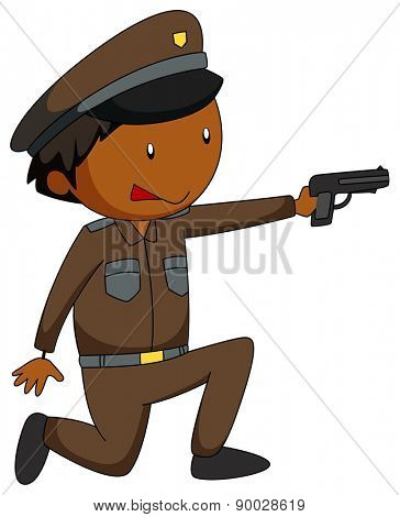 Close up policeman firing a gun
