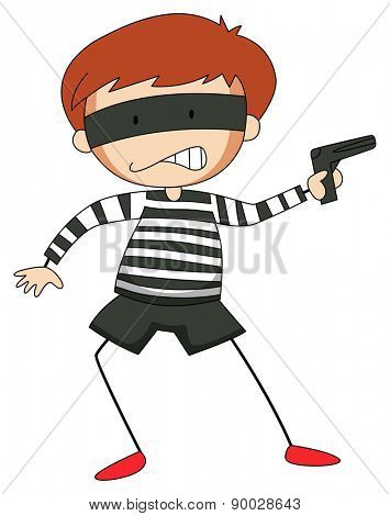 Close up angry robber carrying a firegun