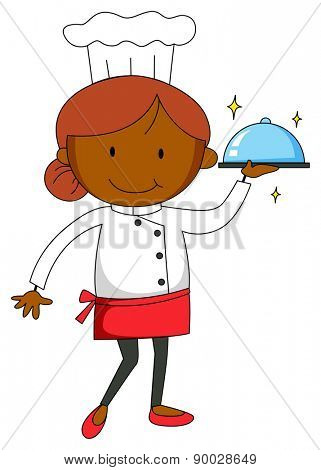 Close up female chef in uniform holding a tray of food