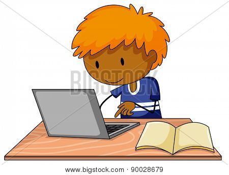 Boy working on the computer alone